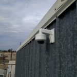 Security Camera installed on metal sheet